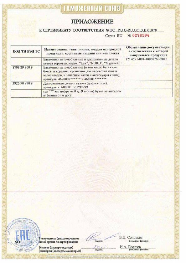 Сертификат на багажные системы Lux и Муравей