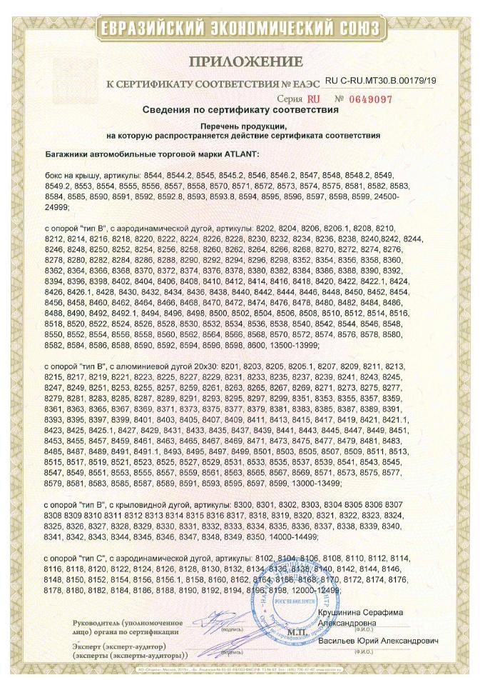 Сертификат на багажные системы Атлант